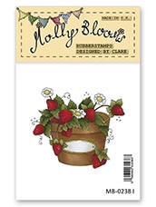 Rubber Stamp - Strawberry Pot