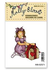 Rubber Stamp - Molly with Present