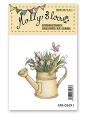 Rubber Stamp - Watering Can of Tulips